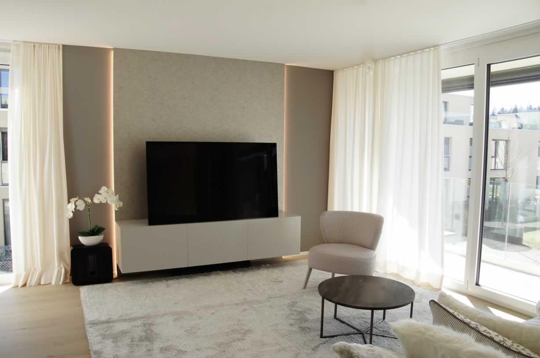 Wohnzimmer Mit TV Und Licht Konzept